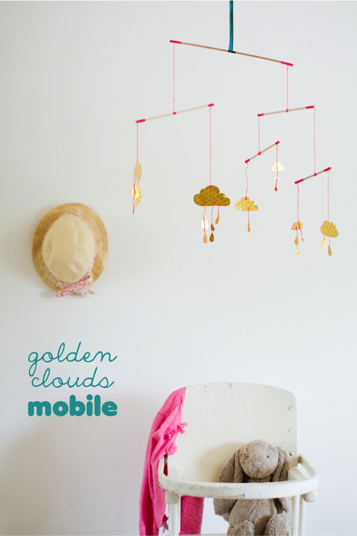Trade Amp Made Diy Golden Clouds Mobile This Little