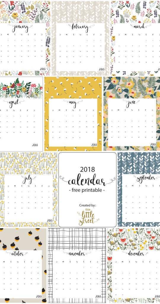 free printable 2018 calendar by this litte street